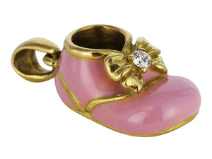 Pink Enamel & Diamond Baby Shoe Charm - JEWELRY Boston