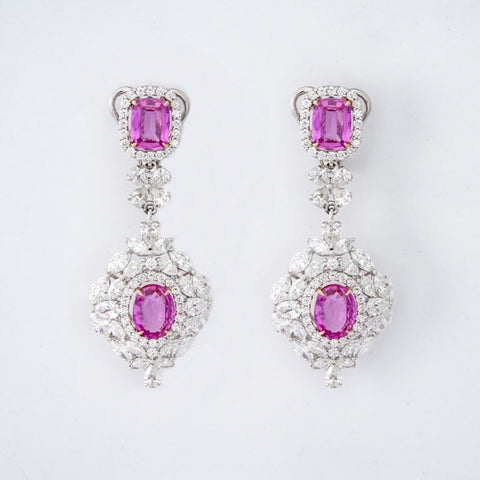 Pink Sapphire Necklace & Earring Set - JEWELRY Boston