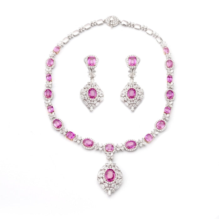 Pink Sapphire Necklace & Earring Suite - JEWELRY Boston