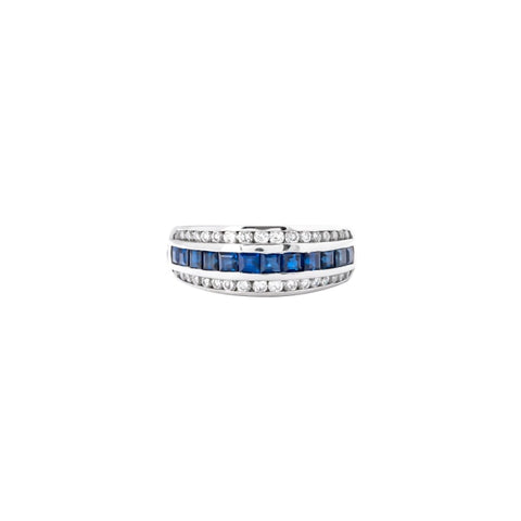 Platinum 1.21 Carat Emerald Cut Sapphire And Diamond Ring - Boston
