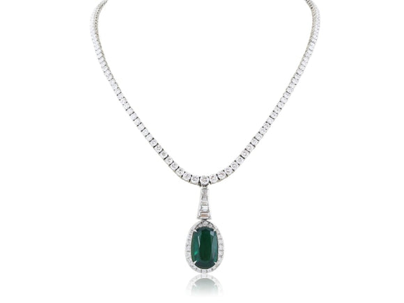 Platinum Diamond 13.60 Emerald 8.09 Carat Drop Necklace - Jewelry Boston