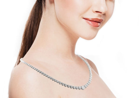 Platinum Riviera Diamond Necklace 12 Carats - Jewelry Boston