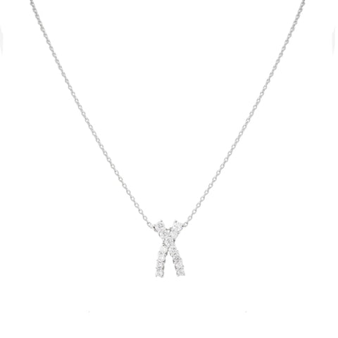 Platinum Round Cut Diamond Solitaire X Pendant - Boston