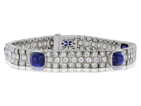 Platinum Sapphire Cabochon And Diamond Bracelet - Jewelry Boston