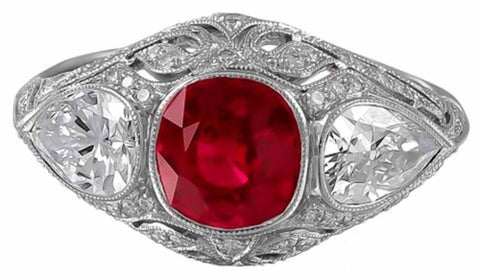 Platinum Three Stone Ruby And Diamond Ring - Jewelry Boston