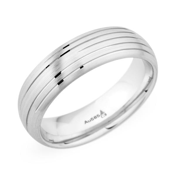 Polished Etched Line Wedding Band (Palladium) - JEWELRY Boston