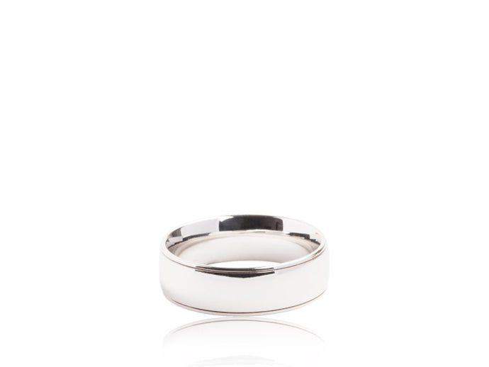 Polished Plain Wedding Band (White Gold) - JEWELRY Boston