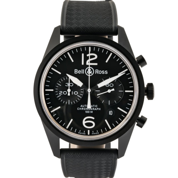 Pre-Owned Bell & Ross Vintage Original Black Dial Chronograph Pvd Stainless Steel 41Mm (Brv126-Bl-Cb) - Watches Boston