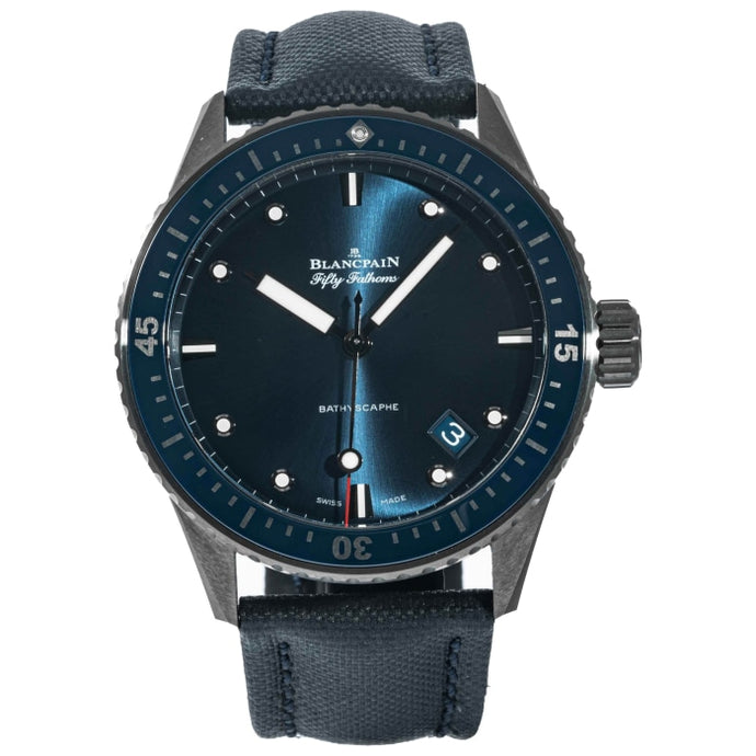 Pre-owned Blancpain Fifty Fathoms Bathyscaphe Grey Ceramic 43.6mm (5000-0240-O52A) - Boston