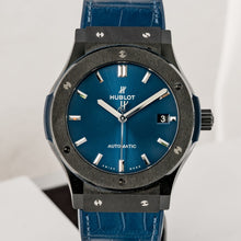 Load image into Gallery viewer, Pre-owned Hublot Classic Fusion Blue Dial Black Ceramic 45mm (511.CM.7170.LR) - Boston