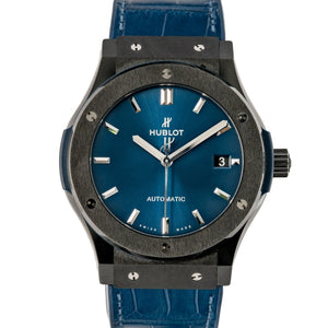Pre-owned Hublot Classic Fusion Blue Dial Black Ceramic 45mm (511.CM.7170.LR) - Boston