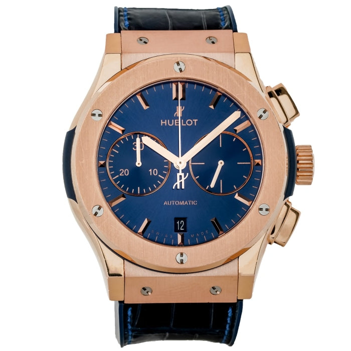 Pre-owned Hublot Classic Fusion Blue Dial Chronograph Rose Gold 45mm (521.OX.7180.LR) - Boston