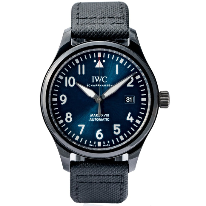 Pre-owned IWC Pilots Mark XVIII Laureus Blue Dial Black Ceramic Automatic 41mm (IW324703) - Boston