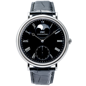 Pre-owned IWC Vintage Portofino Steel Black Dial Moon Phase 46mm (IW544801) - Boston