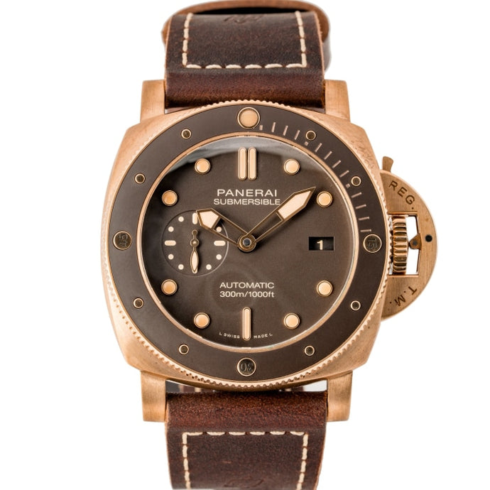 Pre-owned Panerai Submersible 1950 Bronzo Brown Dial Limited Production 47mm (PAM00968) - Boston
