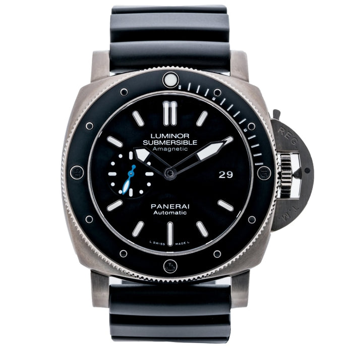 Pre-owned Panerai Submersible 1950s 3 Days Amagnetic Titanium 47mm (PAM01389) - Boston