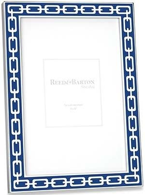 Reed & Barton Blue Enamel Link Picture Frame (1 Remaining) - Engagement Boston