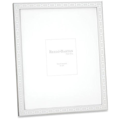 Reed & Barton White Enamel Link Picture Frame (1 Remaining) - Engagement Boston