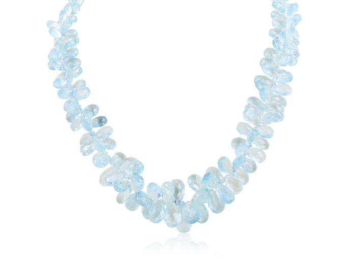 Roberto Coin~Graduated Aquamarine Briolette & Diamond Necklace (White Gold) - JEWELRY Boston