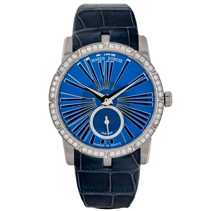 Roger Dubuis Ladies Exacalibur Blue Dial with Diamond Bezel Stainless Steel 36mm (RDDBEX0378) - Boston