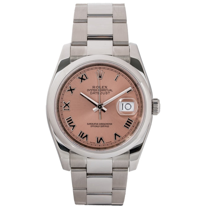 Rolex Datejust Salmon Pink Dial Stainless Steel 36mm (116200) - Boston