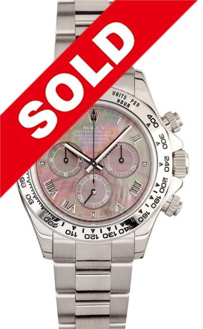 Rolex Daytona 40Mm 18K White Gold W/ Black Mother Of Pearl Dial (116509) - Watches Boston