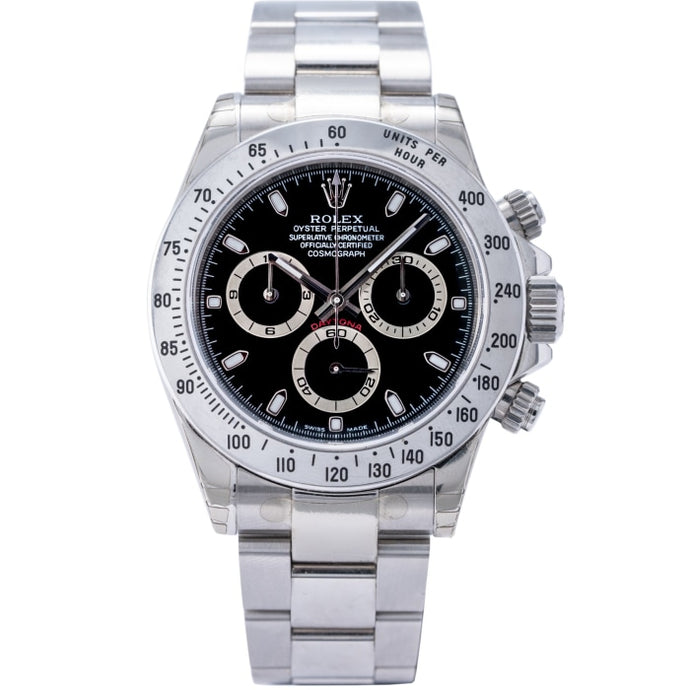 Rolex Daytona Steel Bezel Black Dial Stainless Steel 40mm (116520) - Unworn - Boston