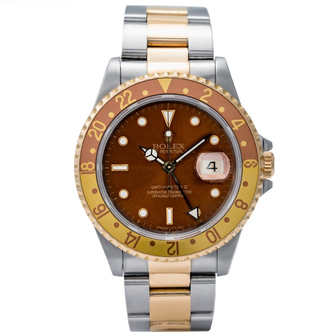 Rolex GMT-MASTER II ROOTBEER Two-Tone Yellow Gold and Stainless Steel 40mm (16713) - Boston
