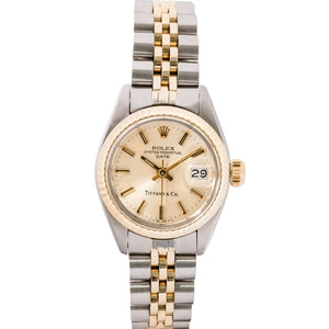 Rolex Ladies Date Two-Tone Yellow Gold And Stainless Steel 26Mm (6917) - Rare Tiffany & Co. Dial Stamp - Boston