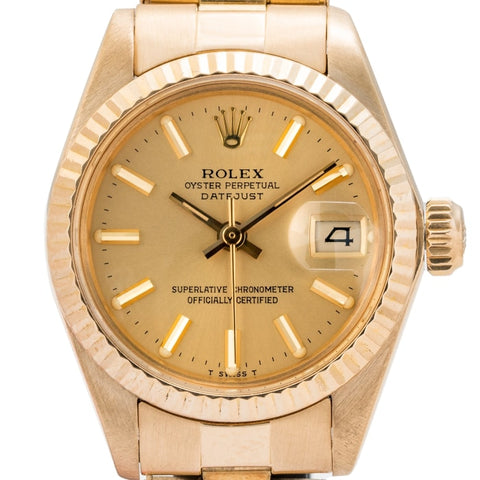 Rolex Ladies Datejust Champagne Dial Yellow Gold 26Mm (6917) - Boston
