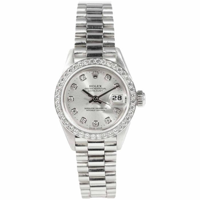 Rolex Ladies Datejust Platinum Silver Diamodn Dial 26mm (69136) - Boston