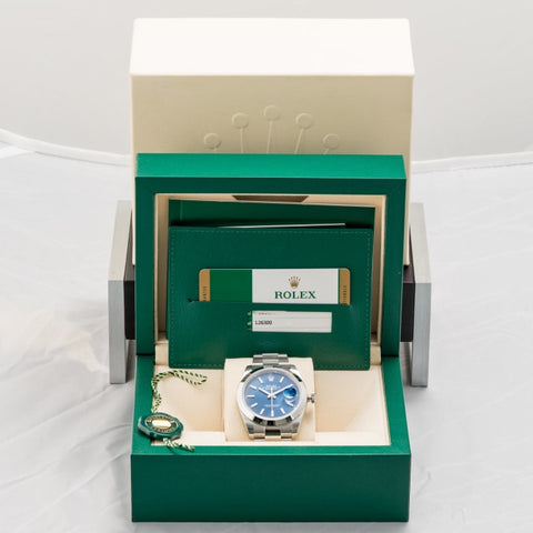 Rolex Oyster Perpetual Blue Dial Datejust Stainless Steel 41Mm (126300) Mint - Unworn - Boston