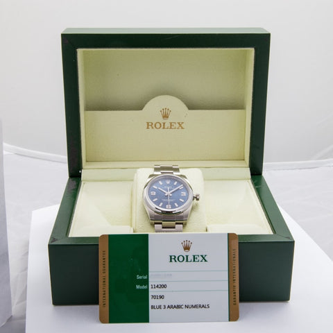Rolex Oyster Perpetual Blue Dial Stainless Steel 34Mm (114200) - Boston