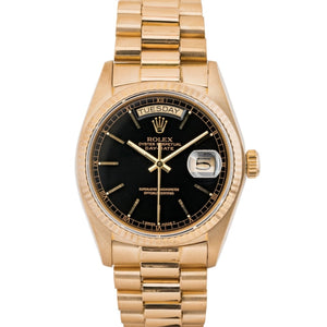 Rolex Presidential Day-Date Black Gilt Dial Yellow Gold 36Mm (18038) - Boston