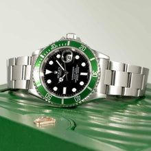 Load image into Gallery viewer, Rolex Submariner 50th Anniversary Black Dial Green Bezel Stainless Steel 40mm (16610V) - Boston