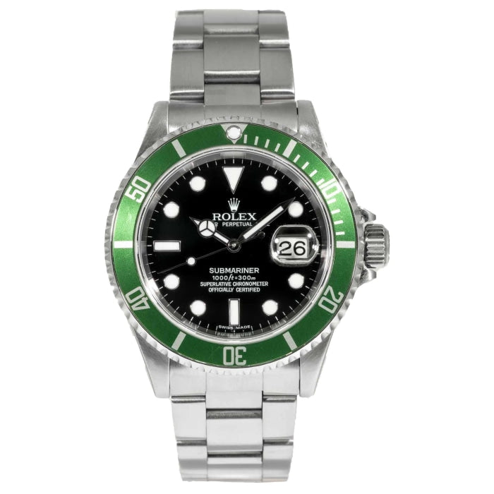 Rolex Submariner 50th Anniversary Kermit Black Dial Green Bezel Stainless Steel 40mm (16610V) - Boston