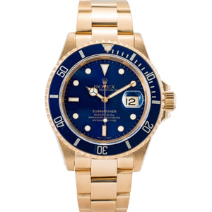 Rolex Submariner Date Blue Dial Yellow Gold 40mm (16618) - Boston