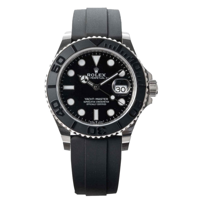 Rolex YACHT-MASTER 42 White Gold on Black Rubber Strap 42mm (226659) - Boston