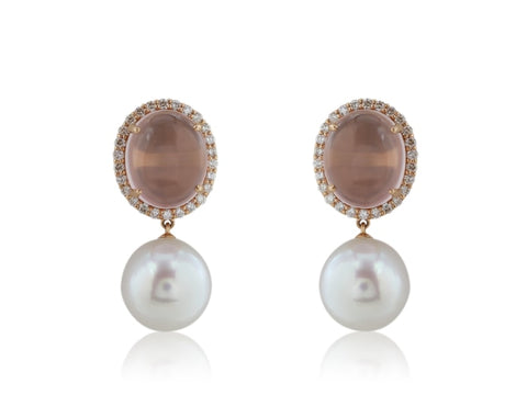 Rose Quartz And South Sea Pearl Earrings - Jewelry Boston