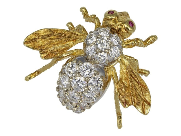 Rosenthal 2.00 Carat Diamond Bee Pin (18K Yellow Gold) - Jewelry Boston