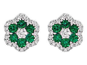 Round Emerald And Diamond Stud Earrings - Jewelry Boston
