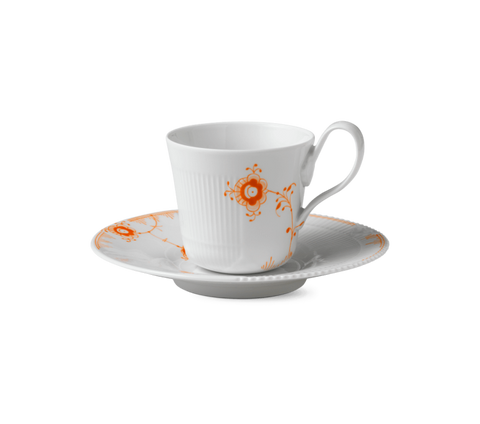 Royal Copenhagen Multi-Colored Elements Teacup & Saucer In Tangerine - Home & Decor Boston