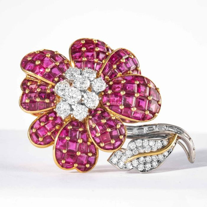 Ruby and Diamond Flower Brooch signed Oscar Heyman Brothers - Jewelry Designers Boston