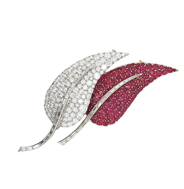 Ruby & Diamond Leaf Motif Brooch Pin (Two Tone) - JEWELRY Boston