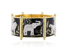 Load image into Gallery viewer, Ruby Emerald Black Enamel And Diamond Safari Elephant Bracelet - Jewelry Boston