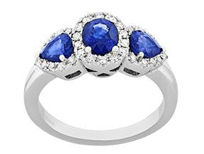 Sapphire And Diamond 3 Stone Ring (1.75Ctw) - Jewelry Boston
