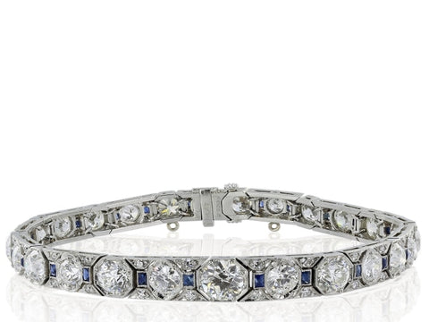 Sapphire & Diamond Art Deco Bracelet - Jewelry Boston