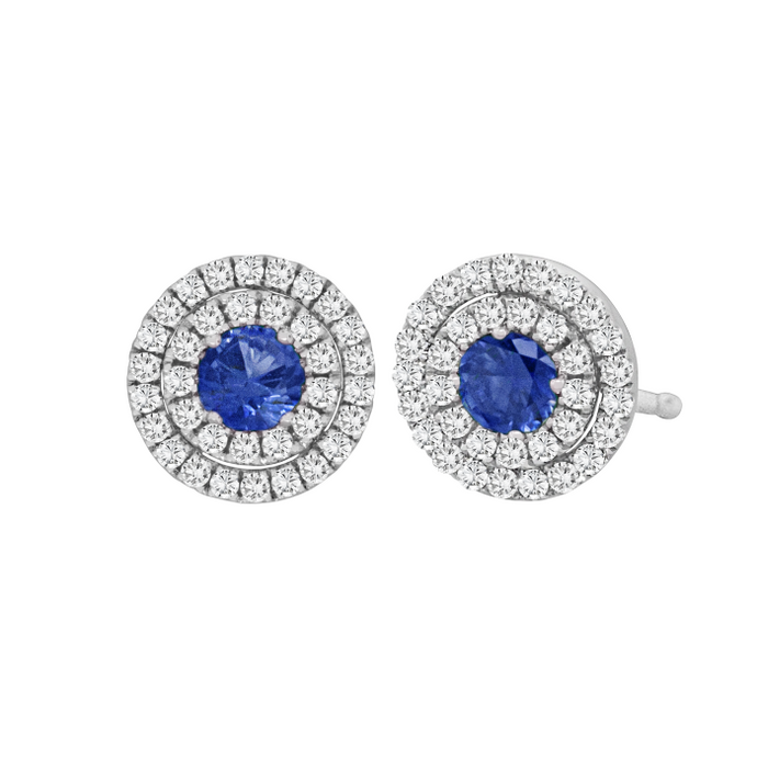 Sapphire & Diamond Double Halo Earrings (White Gold) - JEWELRY Boston