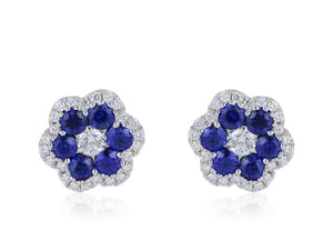Sapphire & Diamond Floral Motif Stud Earrings (White Gold) - JEWELRY Boston