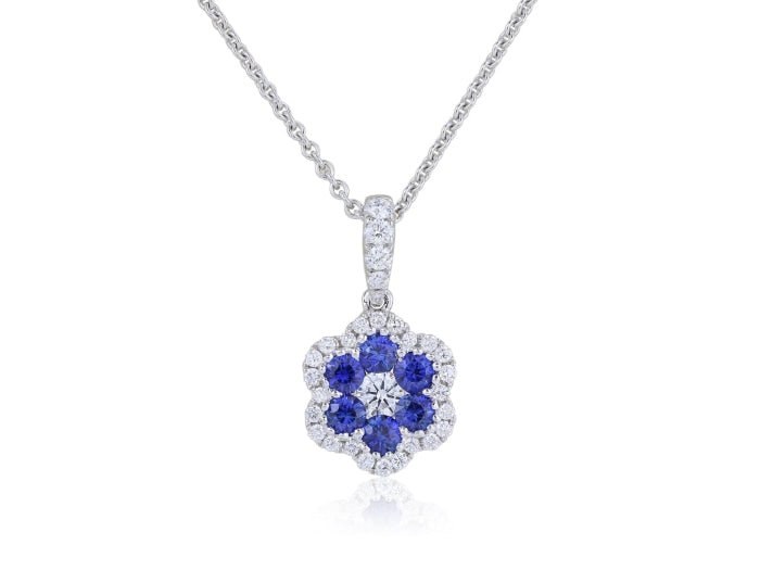 Sapphire & Diamond Floral Pendant Necklace (White Gold) - JEWELRY Boston